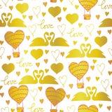 Cigni del modello di vettore nell'amore per il giorno di biglietti di S. Valentino, le nozze, gli eventi romantici e l'amore illustrazione vettoriale