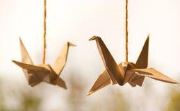 Cigni di origami (carta) Fotografie Stock