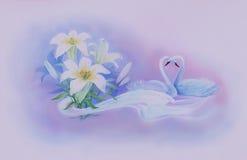 Cigni e fiori Fotografia Stock Libera da Diritti