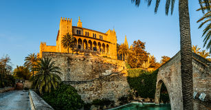 Cigni in uno stagno vicino a Royal Palace in Palma, Spagna Immagine Stock