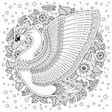 Cigno decorato disegnato a mano Immagine per i libri da colorare adulti, pagina Fotografia Stock Libera da Diritti