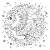 Cigno decorato disegnato a mano Immagine per i libri da colorare adulti, pagina Immagine Stock