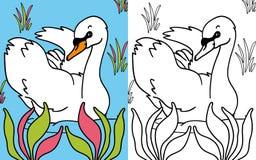 Cigno del libro di coloritura Fotografia Stock