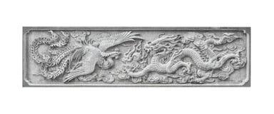 Cigno di pietra e drago cinesi di scultura isolati Fotografia Stock Libera da Diritti