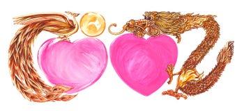 Cigno e drago con colore di acqua della pittura di celebrazione di Mary del cuore Fotografie Stock