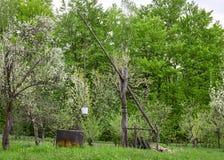 Cigoñal de madera viejo en bosque verde Fotografía de archivo