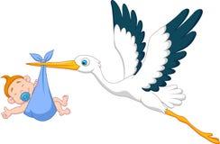 Cigogne avec la bande dessinée de bébé garçon Photo stock