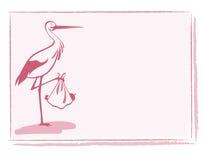 Cigogne avec la carte de bébé Photos libres de droits