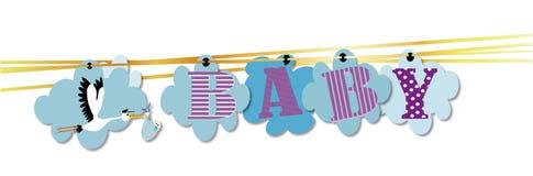 Cigogne et bébé d'invitation de fête de naissance Images libres de droits