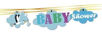 Cigogne et bébé d'invitation de fête de naissance Photo libre de droits