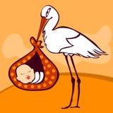 Cigogne mignonne arrivant avec le bébé Images libres de droits