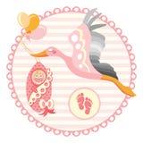 Cigogne portant un bébé mignon Il s une illustration de fille Photos libres de droits