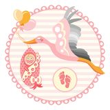 Cigogne portant un bébé mignon Il s une illustration de vecteur de fille Photo stock