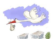 Cigogne pour porter nouveau-né Image libre de droits