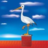 cigogne sur la cheminée Image libre de droits
