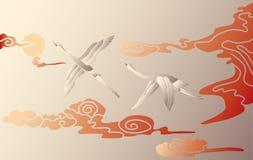 Cigognes dans le ciel Photo libre de droits