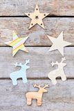 Ciie out Bożenarodzeniowe dekoracyjne papierowe postacie Fotografia Stock
