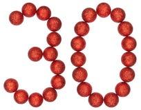 Cijfer 30, dertig, van decoratieve die ballen, op witte bac worden geïsoleerd Stock Foto