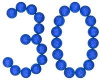Cijfer 30, dertig, van decoratieve die ballen, op witte bac worden geïsoleerd Stock Afbeeldingen