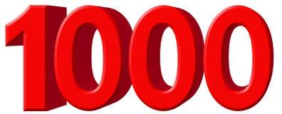 Cijfer 1000, duizend, geïsoleerd op witte achtergrond, 3d ren vector illustratie