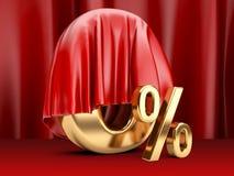 Cijfer een nul die percent met rode doek wordt behandeld Stock Afbeelding