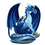Cijfer ijzige blauwe draak met Gouden klauwen stock illustratie