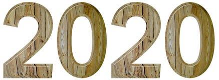 Cijfer 2020 met een abstract patroon van een houten oppervlakte, isola Royalty-vrije Stock Afbeeldingen