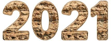 Cijfer 2021 met een abstracte oppervlakte van een natuurlijk kalksteen, Stock Foto