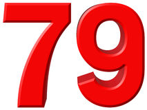 Cijfer 79, negenenzeventig, geïsoleerd op witte achtergrond, 3d rende Royalty-vrije Stock Afbeeldingen
