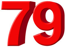 Cijfer 79, negenenzeventig, geïsoleerd op witte achtergrond, 3d rende Stock Foto's