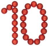 Cijfer 10, tien, van decoratieve die ballen, op witte backgr worden geïsoleerd Royalty-vrije Stock Afbeeldingen