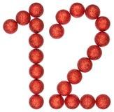 Cijfer 12, twaalf, van decoratieve die ballen, op witte bac worden geïsoleerd Stock Foto's