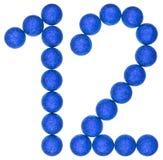 Cijfer 12, twaalf, van decoratieve die ballen, op witte bac worden geïsoleerd Stock Foto