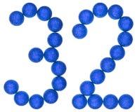 Cijfer 32, tweeëndertig, van decoratieve die ballen, op wit worden geïsoleerd Stock Foto's