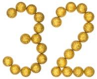 Cijfer 32, tweeëndertig, van decoratieve die ballen, op wit worden geïsoleerd Royalty-vrije Stock Foto