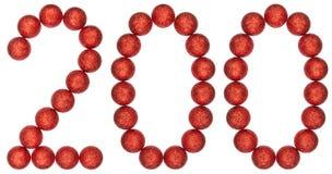 Cijfer 200, twee honderd, van decoratieve die ballen, op whi worden geïsoleerd Stock Afbeelding