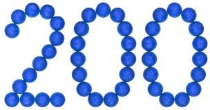 Cijfer 200, twee honderd, van decoratieve die ballen, op whi worden geïsoleerd Stock Foto's