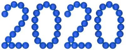 Cijfer 2020 van blauwe decoratieve die ballen, op witte backg worden geïsoleerd Stock Foto's