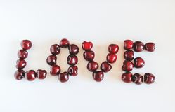 Cijfer van hart van rode zoete kersen wordt gemaakt die stock foto