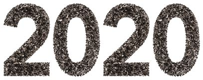 Cijfer 2020 van zwarte een natuurlijke die houtskool, op witte bedelaars wordt geïsoleerd Royalty-vrije Stock Fotografie