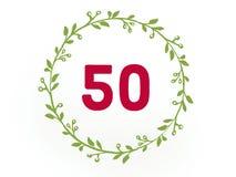 Cijfer vijftien 50 in rode kleur in de bladcirkel stock illustratie