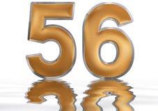 Cijfer 56, zesenvijftig, overdacht de waterspiegel, Vector Illustratie