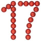 Cijfer 17, zeventien, van decoratieve die ballen, op wit worden geïsoleerd Royalty-vrije Stock Foto's