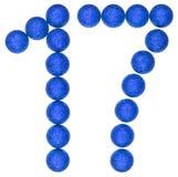 Cijfer 17, zeventien, van decoratieve die ballen, op wit worden geïsoleerd Stock Foto's
