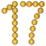 Cijfer 17, zeventien, van decoratieve die ballen, op wit worden geïsoleerd Stock Foto