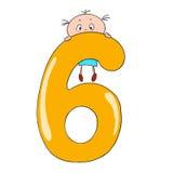Cijfers en kinderen De illustratie van het beeldverhaal Karakterskrabbel zes Stock Foto
