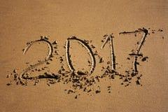 Cijfers in het zand 2017 Royalty-vrije Stock Foto