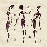 Cijfers van Afrikaanse dansers Getrokken hand Stock Afbeelding
