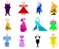 Cijfers van de mensen in geometrische stiletto Royalty-vrije Stock Afbeelding