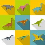 Cijfers van de reeks van het dinosaurussenpictogram, vlakke stijl Stock Foto